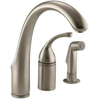 """Kohler K-10430 Forte 3-Hole Remote Valve Kitchen Sink Faucet with 9"""" Spout and Sidespray"""