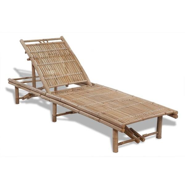Awesome Shop Vidaxl Sunlounger Bamboo Adjustable Chaise Lounge Inzonedesignstudio Interior Chair Design Inzonedesignstudiocom