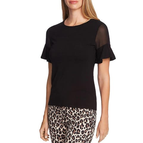 Vince Camuto Womens Pullover Top Mesh Inset Ruffled
