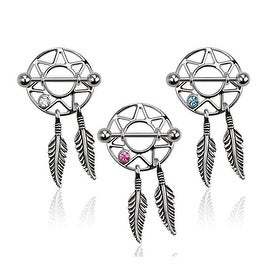 Dream Catcher Nipple Shield with Gem 316L Surgical Steel (Sold Individually)