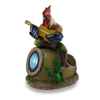 Crooning Country Rooster Sculptured Solar LED Accent Light - Multicolored