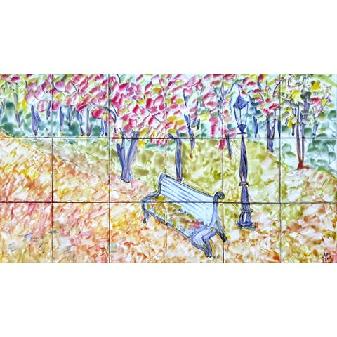 36in x 18in Floral Backsplash Mosaic 18pc Tile Ceramic Wall Mural