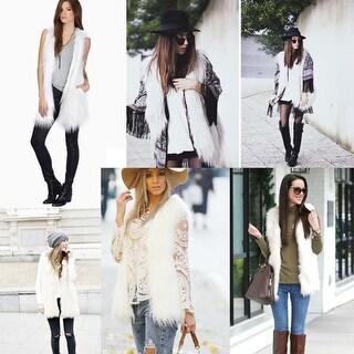 Women Faux Fur Vest Sleeveless Long Solid Color Soft Coat Jacket Outwear Gift