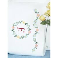 Stamped Pillowcases W/White Perle Edge 2/Pkg-Monogram