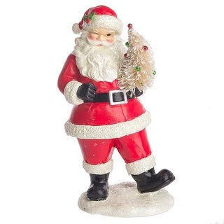 """14"""" Dark Red and White Glitter Decorative Christmas Santa with Tree"""