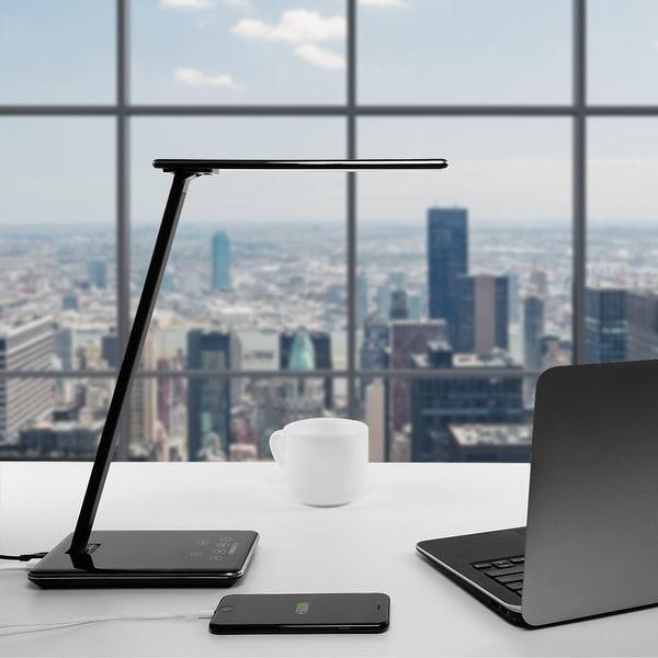 Dimmable LED Desk Lamp, 4 Lighting Modes ,USB Port, Piano Black