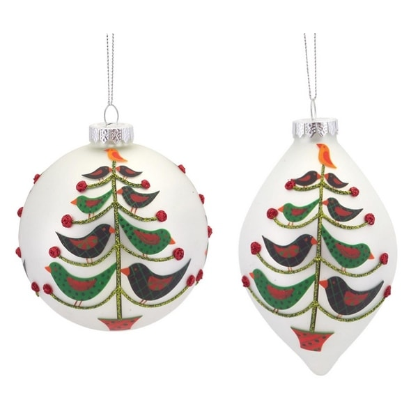 Pack of 6 White, Red and Green Bird Tree Glass Ball and Drop Christmas Ornaments 5""
