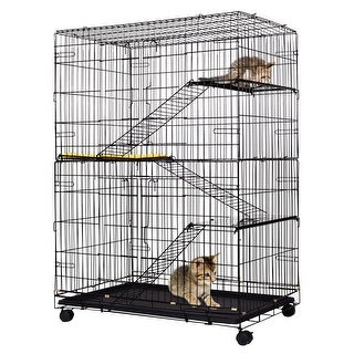 Costway 4-Tier Cat Playpen Cat Cage with 3 Climbing Ladders & 3 Rest Benches & Cushion