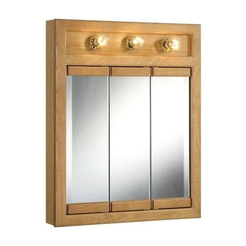Design House 530592 24 Framed Triple Door Mirrored Medicine Cabinet With 3 Lights From The Richland Collection Free Shipping Today