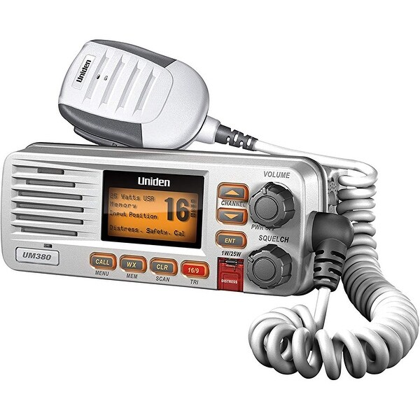 Uniden UM415 White Fixed Mount VHF Marine Radio w/ Backlit LCD Display & Keypad