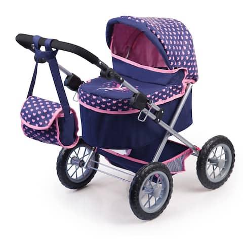 Trendy Pram Stroller For Toy Baby Dolls - Navy/Pink