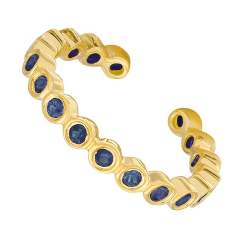 14k Yellow Gold Sapphire Bezel Single Ear Cuff, 13mm