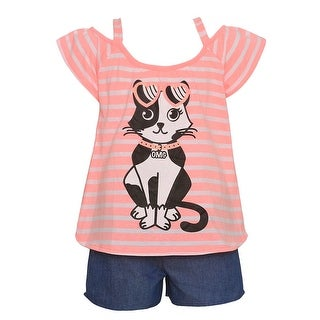 Little Girls Orange Stripe Cat Print Short Sleeve 2 Pc Shorts Outfit (More options available)