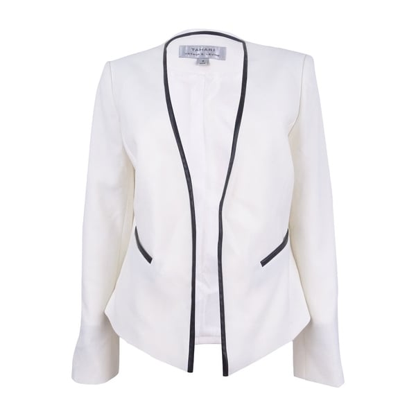 d45e44eed13d Shop Tahari ASL Women s Faux-Leather Trim Open Jacket - cloud white black -  8 - Free Shipping Today - Overstock - 21295207