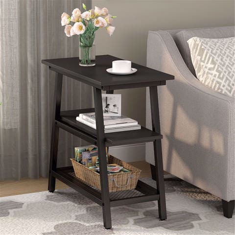 Industrial End Table Bed Side Table Storage Shelf