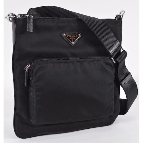 Prada Black Tessuto Nylon Flat Bandoliera Crossbody Messenger Bag Purse