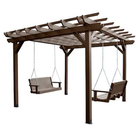 Highwood Bodhi Pergola (12 x 12) with 2 Lehigh 4ft Swings