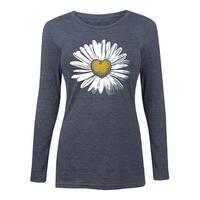 Daisy Heart  - Ladies Long Sleeve Tee