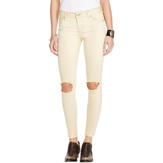 Free People Womens Colored Skinny Jeans Destroyed Mid-Rise
