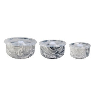 Elle Collection Set of 3 Marble Grey Kitchen Storage Bowls with Lids