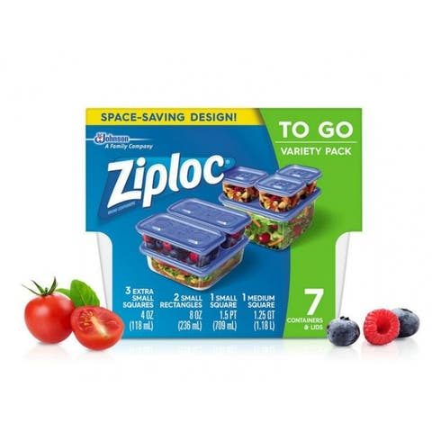 Ziploc 709391 Space-Saving Containers & Lids, To Go Variety Pack, 7-Count