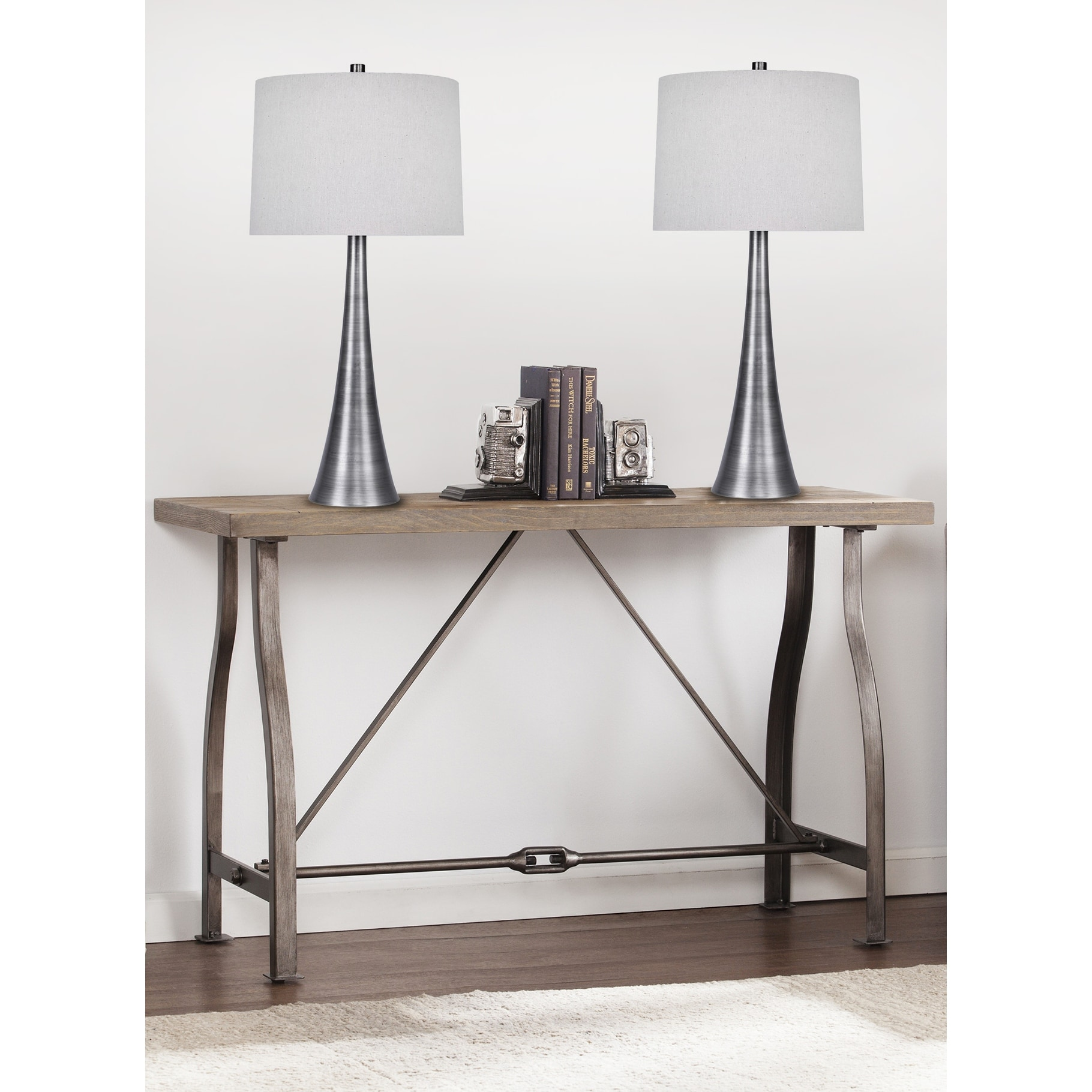 29 5 Metal Table Lamp Set With Tapered Curve Design And Off White Linen Drum Shades Overstock 29167654