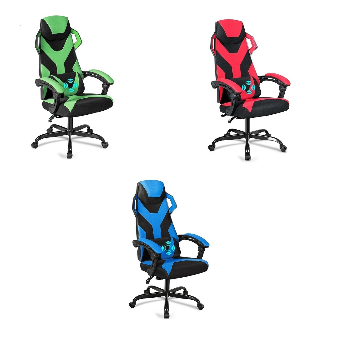 Massage Gaming Chair Reclining Racing Chair Integrate Office Armrests Red