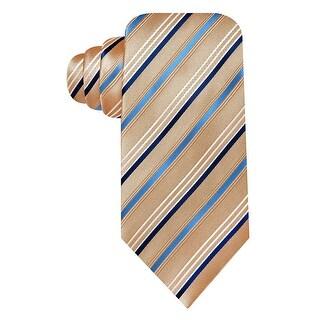 Geoffrey Beene Taupe and Blue Satin Stripe Silk Blend Tie One Size Necktie