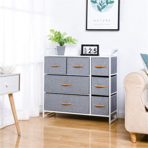 7Drawer Dresser, 3Tier Storage Organizer, Tower Unit Sturdy Steel Frame, Wooden Top, Removable Fabric Bins