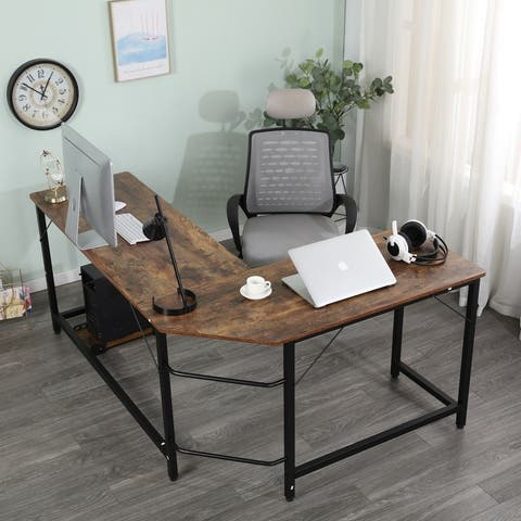 Merax L-Shaped Home Office Computer Desk with Computer Host Tray