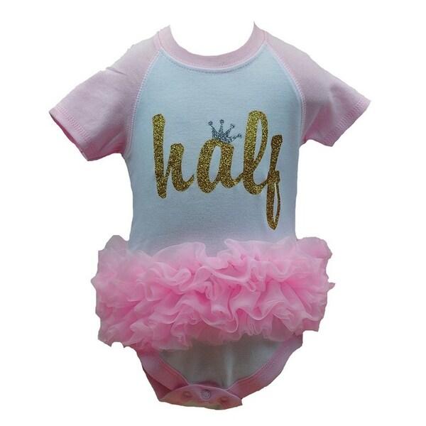 "Reflectionz Baby Girls Pink ""Half"" Ruffle Glitter Crown Birthday Bodysuit 6-12M"