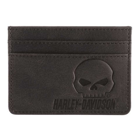 "Harley-Davidson Men's Outsider Leather Card Case Wallet w/ RFID HDMWA11647 - 4"" x 3"""