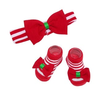 Rising Star Baby Girl's Holiday Headband and Sock Set - Red - One size