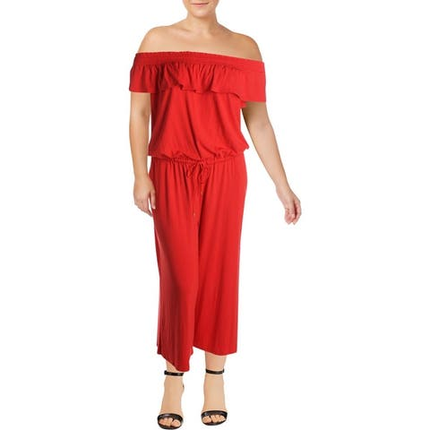 Lauren Ralph Lauren Womens Plus Jumpsuit Ruffled Wide Leg - Pink