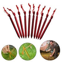 10 PCS Superior Aluminum Tent Stake with Bag and Carabiner Light Weight Tent Pegs Black