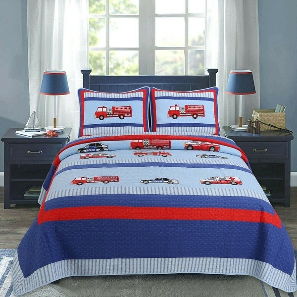 Cozy Line Fire And Police Rescue Boy Cotton Quilt Set. Opens flyout.
