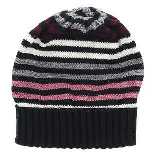 Missoni Black/Pink Knitted Beanie Wool Blend Hat