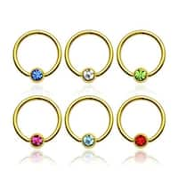 """{Clear} gold-plated 316L Steel Rings W/ Press Fit Gem Set Ball - 14Ga 1/2"""" Long - Clear (Sold I"""