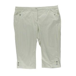 Karen Scott Womens Plus Twill Flat Front Capri Pants