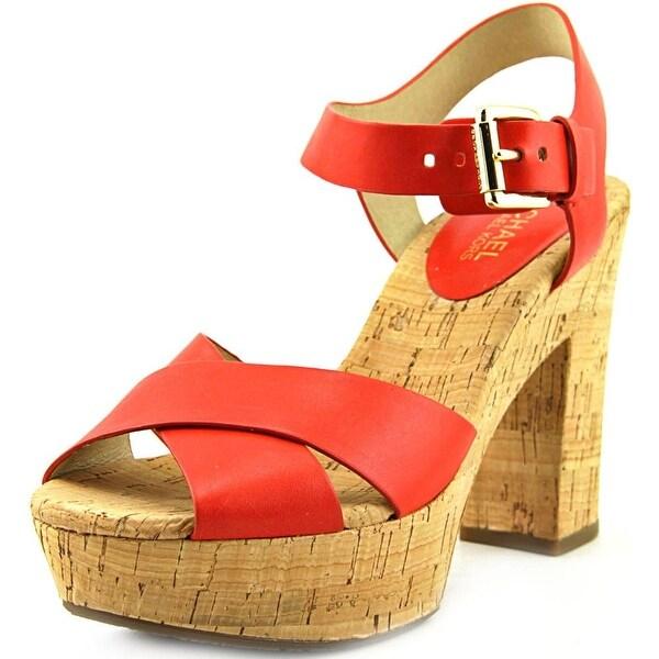 Michael Michael Kors Natalia Platform Women Leather Orange Platform Sandal