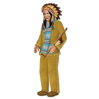 """Club Pack of 12 Jointed Western Themed Native American Chief Decorations 37.5"""""""