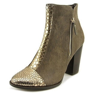 Nina Clip Round Toe Synthetic Ankle Boot