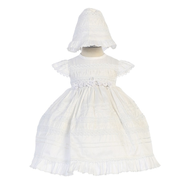Angels Garment Little Girls White Poly Shantung Floral Bonnet Baptism Gown