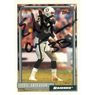 Eddie Anderson Autographed Football Card Los Angeles Raiders 1992