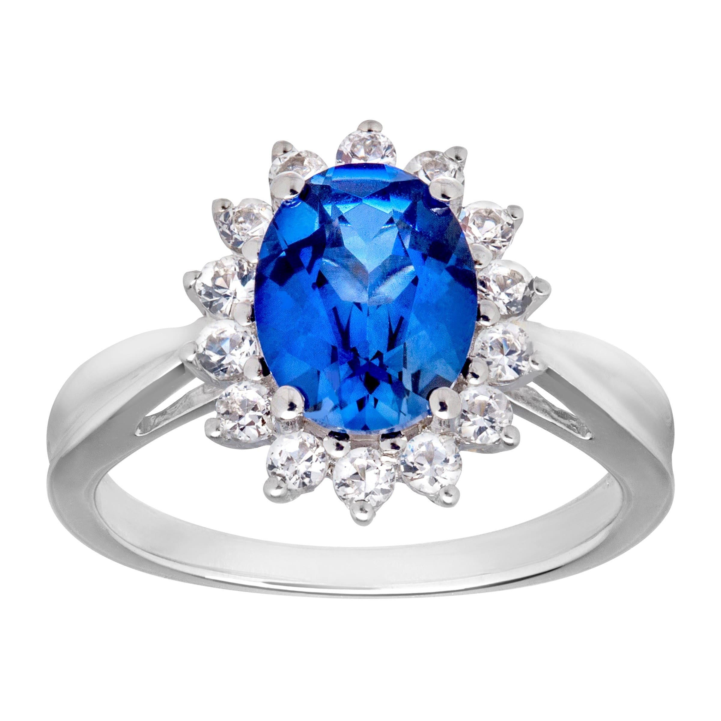 3 1//5 ct Created Ceylon Sapphire Ring in Sterling Silver