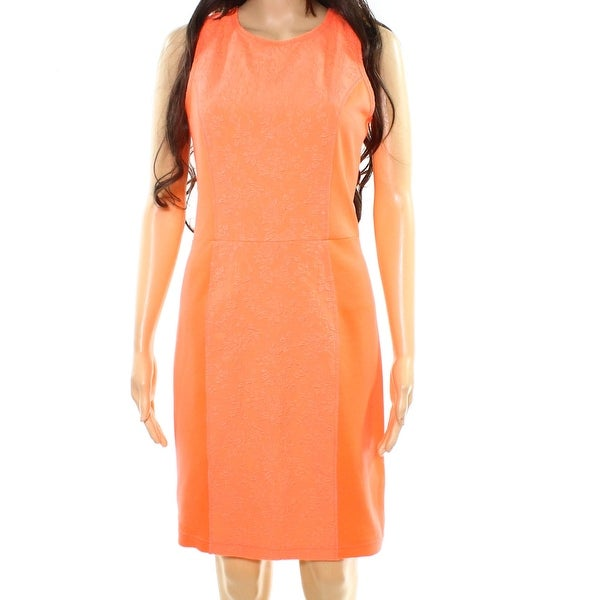 Rachel Rachel Roy Orange Womens Size 6 Seamed Floral Sheath Dress