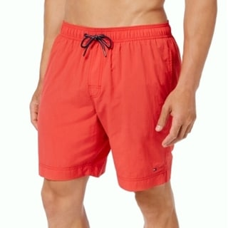 Tommy Hilfiger NEW Red Mens Size XL Stretch Drawstring Swim Trunks
