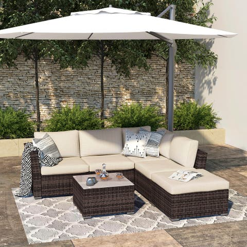 Outdoor 4-piece All-weather Wicker Patio Sectional Sofa Set with Waterproof Cover