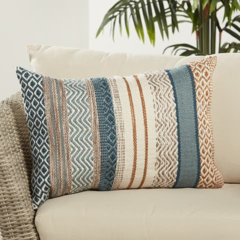 Rautha Geometric Blue/ Gold Indoor/ Outdoor Lumbar Pillow