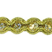 "River Sequin And Cord Trim 5/8""X20yd-Gold"